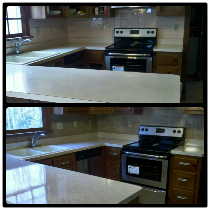 Kitchen Counter Resurface and Tile Back Splash Resurface