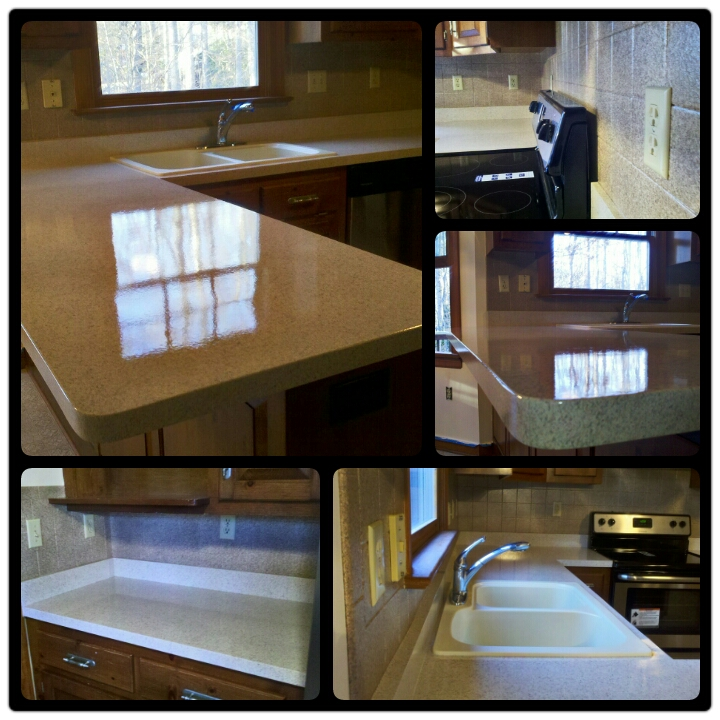 Kitchen Counter Resurface in Fieldstone with High Gloss Finish